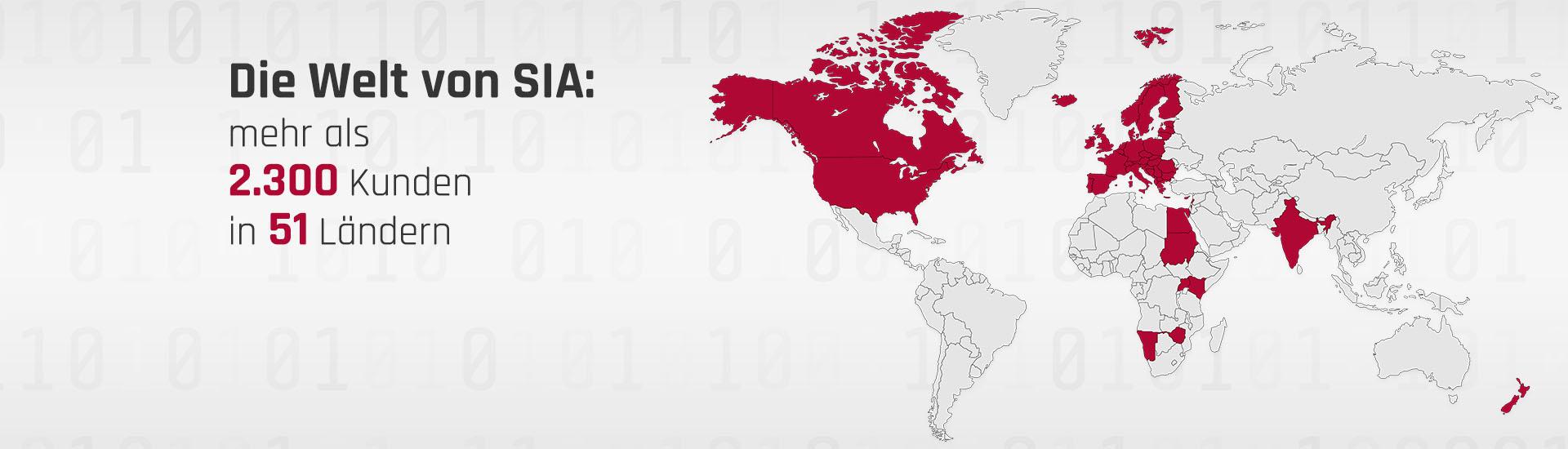 Die Welt von SIA: mehr als 2.300 Kunden in 51 Ländern