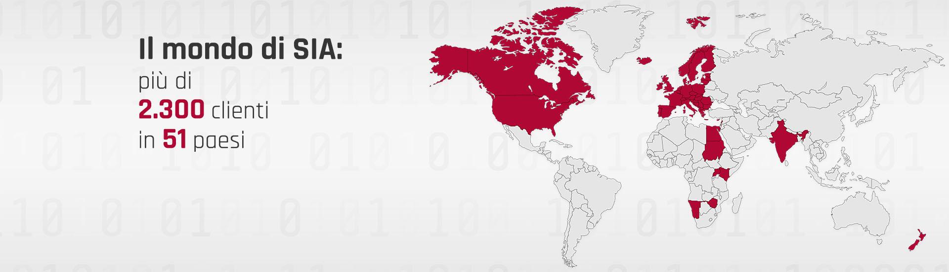 Il mondo di SIA: più di 2.300 clienti in 51 paesi