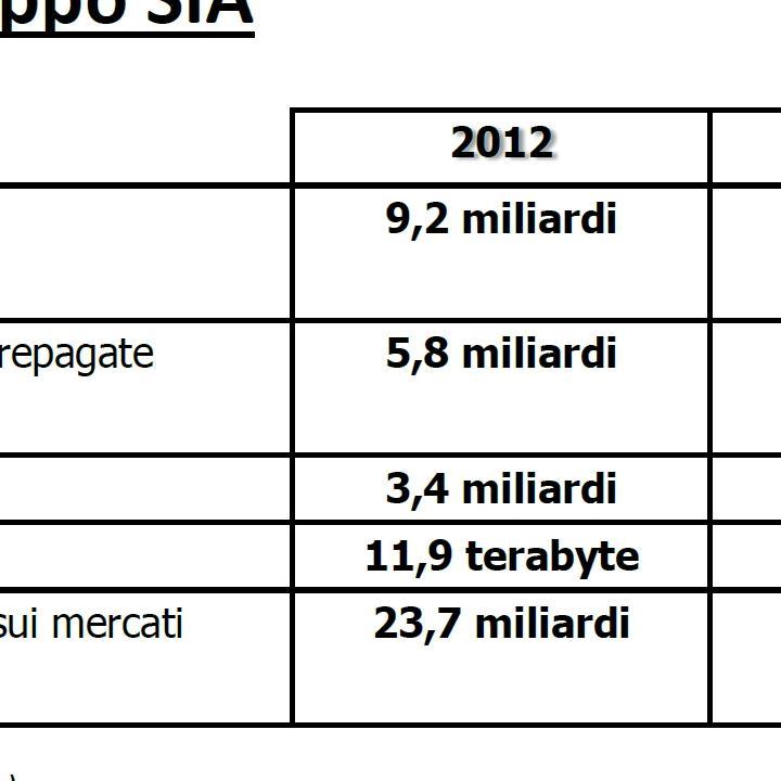 Dati di business SIA - 2012